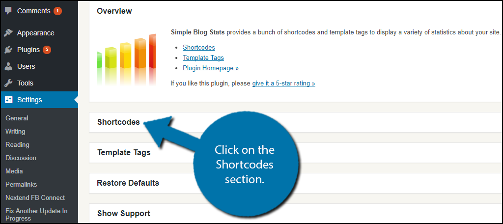 Click on the Shortcodes section