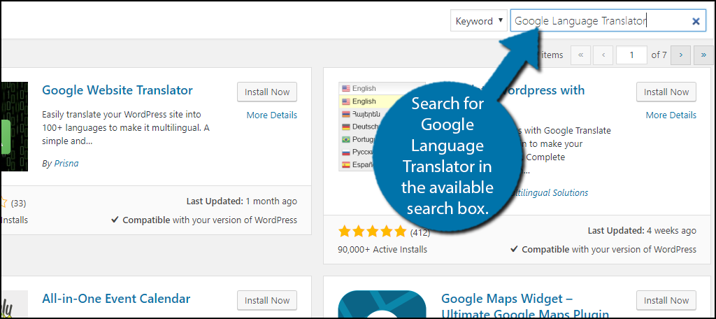 Search forGoogle Language Translator in the available search box.