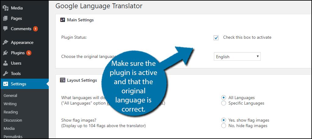 Activate the plugin and choose the original language.