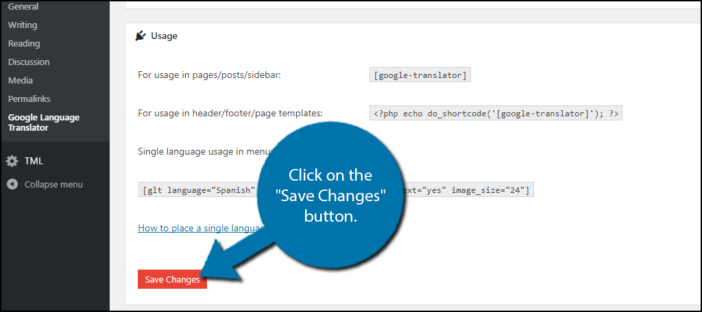 """Click on the """"Save Changes"""" button"""