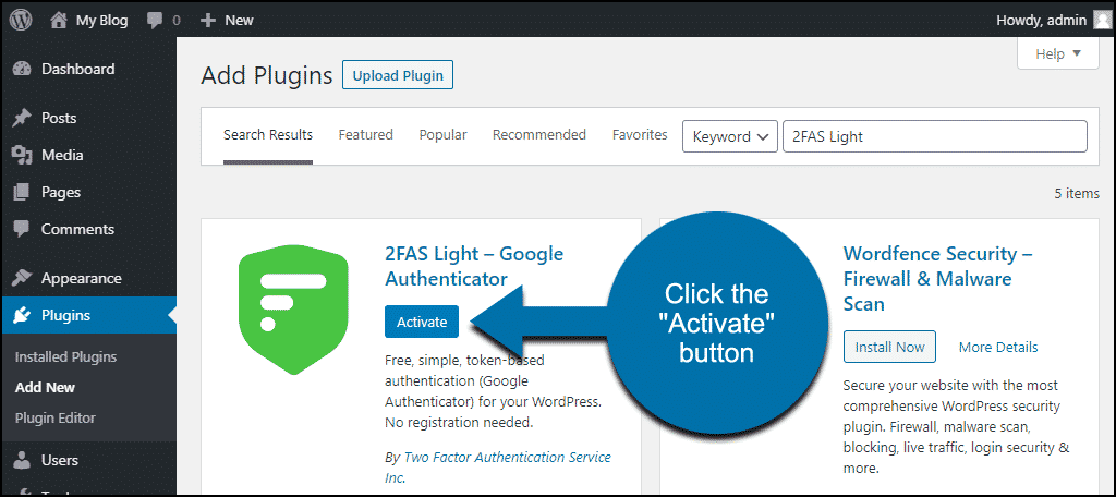 click to activate the WordPress 2FAS Light plugin