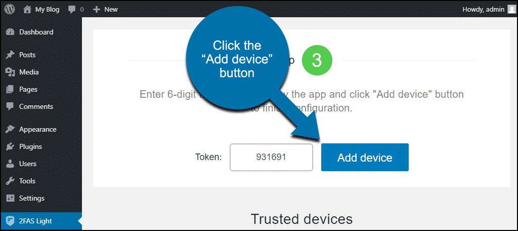 """click the """"Add device"""" button"""