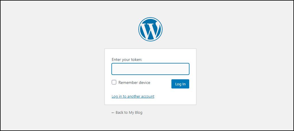 WordPress 2FA token request