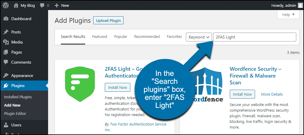 search for the WordPress 2FAS Light plugin