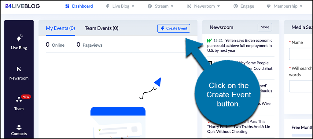 Click Create Event Button