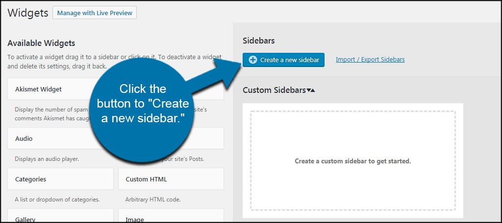 Create Sidebar