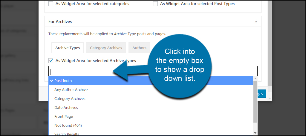 how to change a drop down list in wordpress