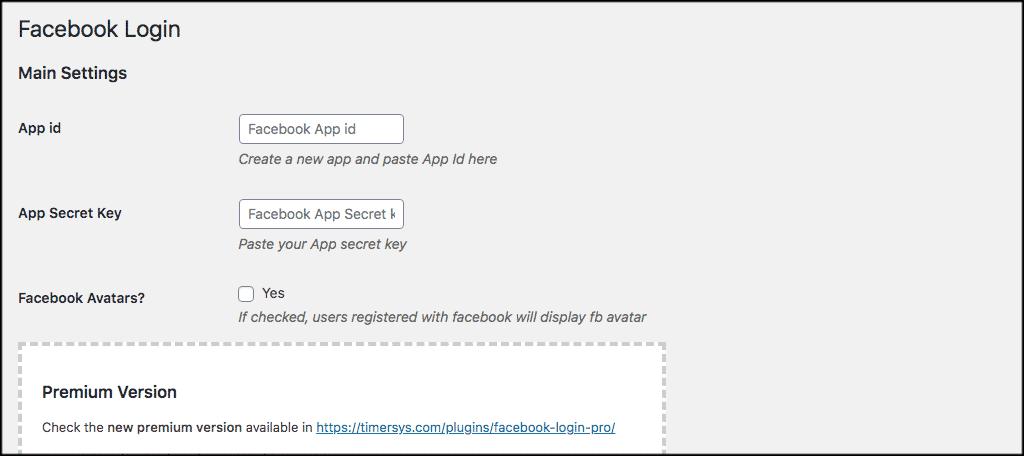 Facebook login settings page