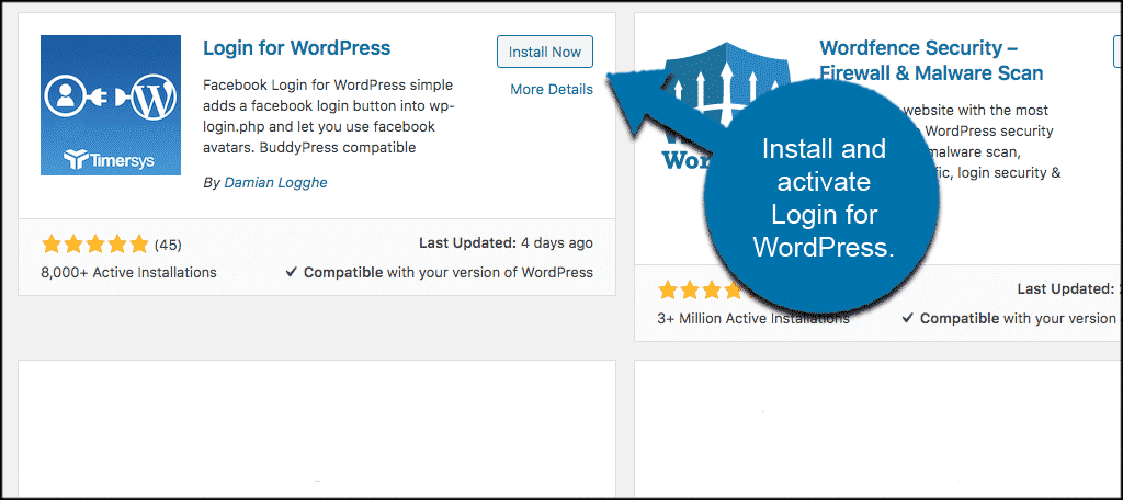 Install and activate plugin to add a facebook login button to wordpress