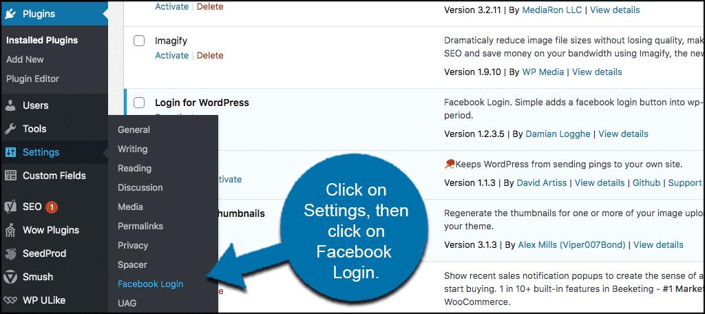 Click settings then lcick faebook login