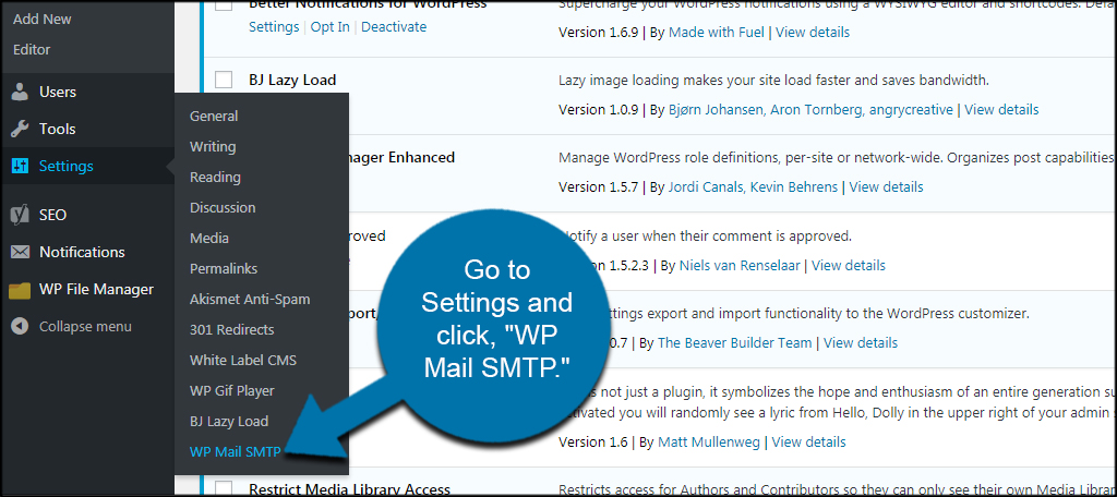 WP Mail Settings