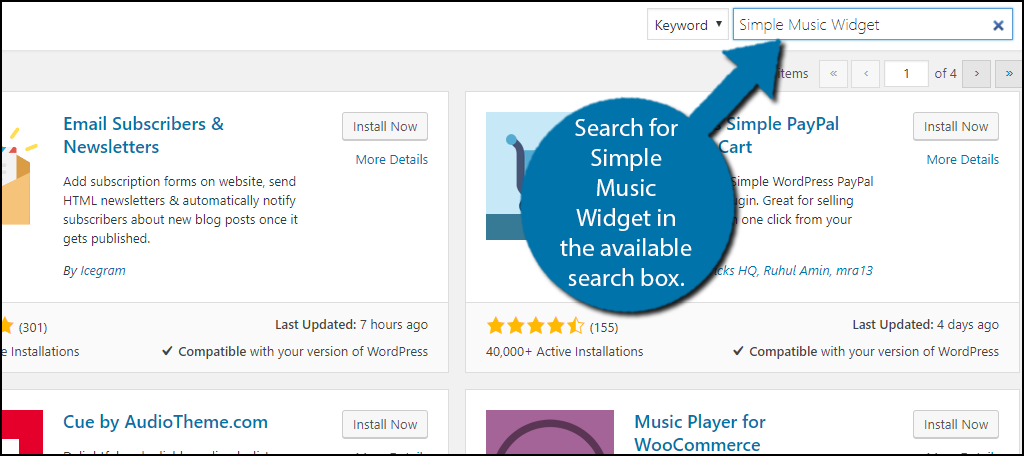 Search for Simple Music Widget in the available search box.