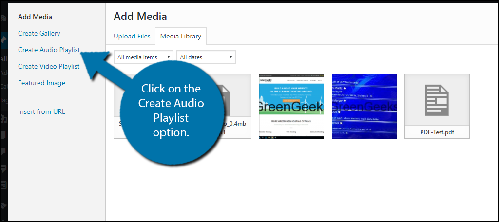 Click on the Create Audio Playlist option.