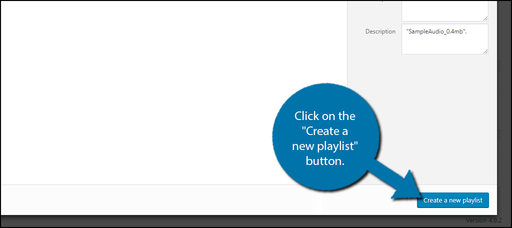 "Click on the ""Create a new playlist"" button to audio playlists in wordpress"