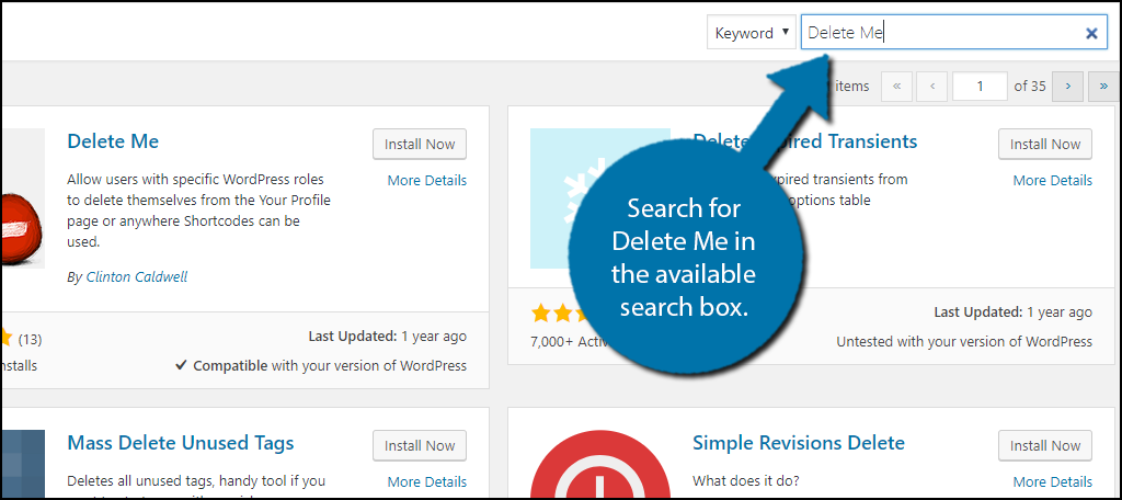 Search for Delete Me in the available search box.