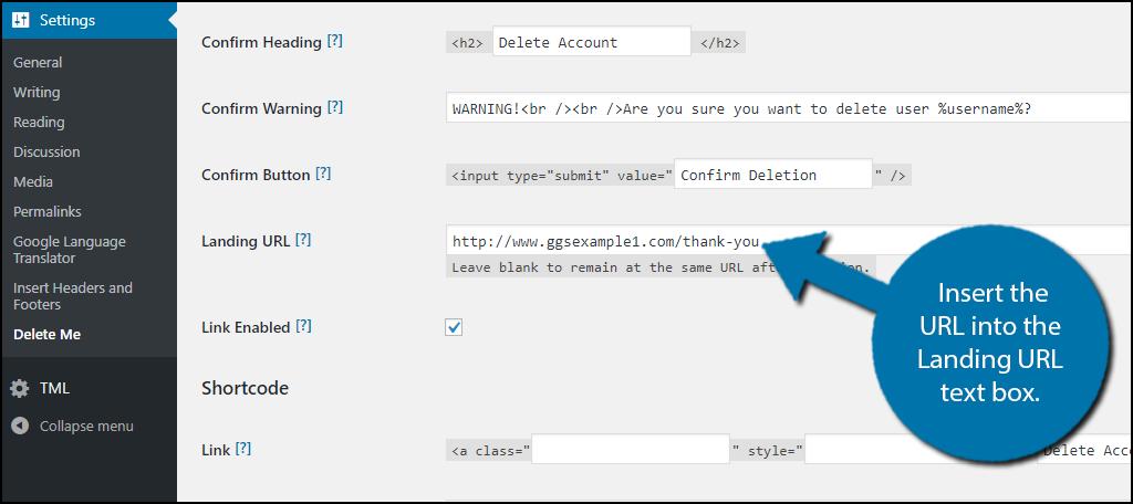 Insert the URL into the Landing URL text box.