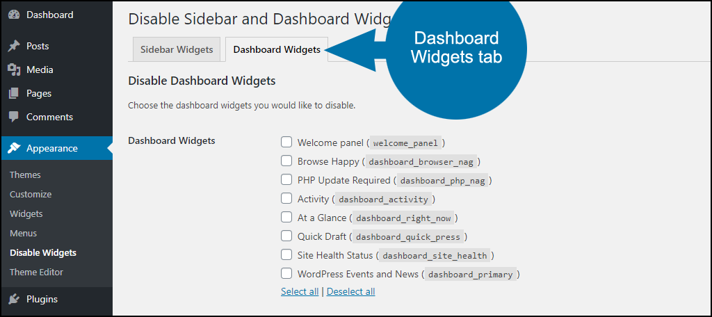 disable dashboard widgets