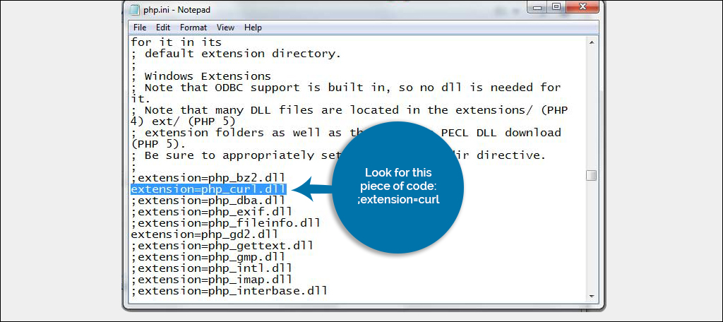 Look for ;extension=curl.so