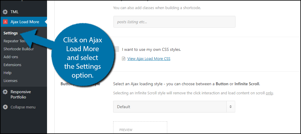 click on Ajax Load More and select the Settings option.