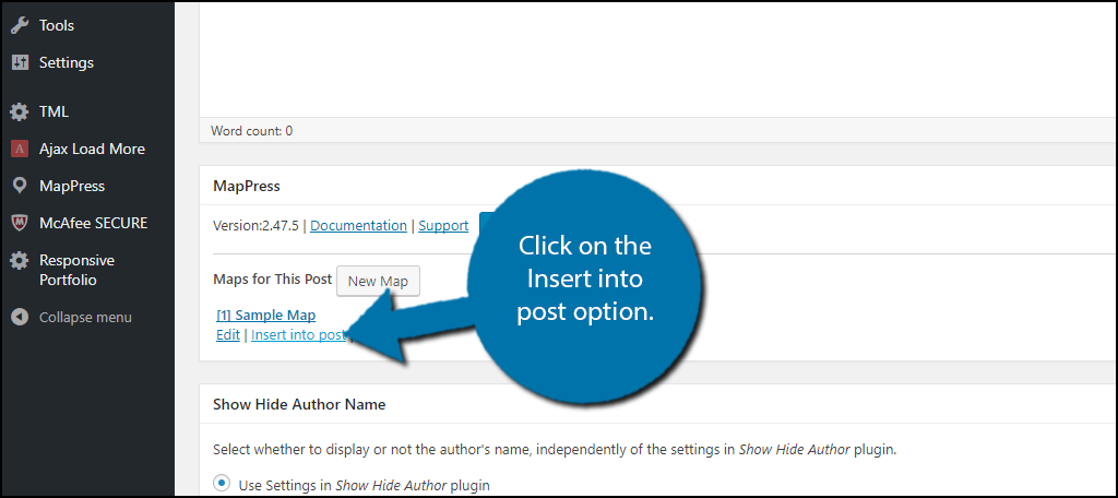Click on the Insert into post option.