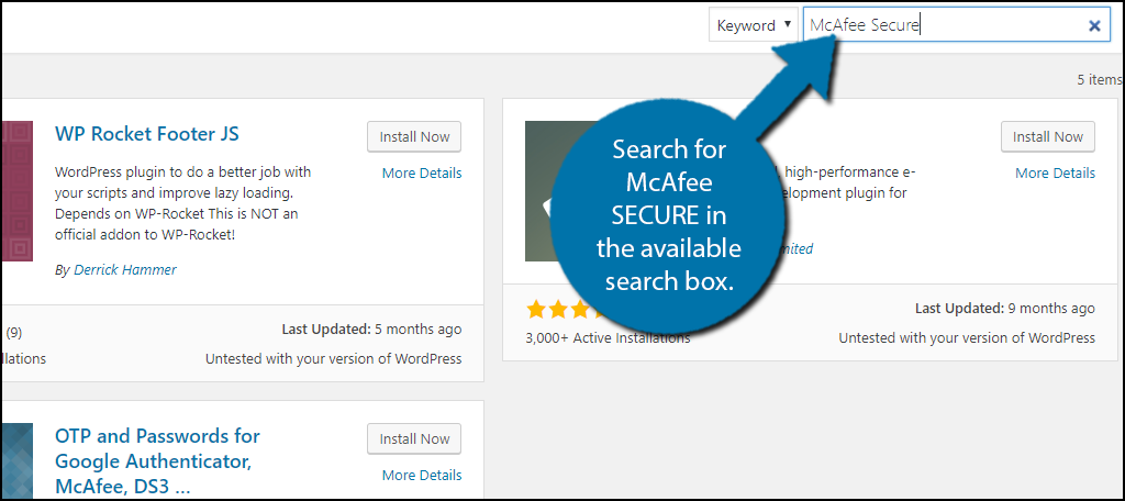 Search for McAfee SECURE in the available search box.