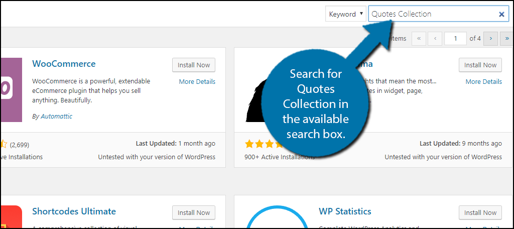 Search forQuotes Collection in the available search box.