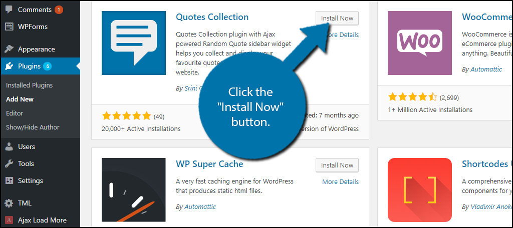 INstall the quotes collection random quotes plugin