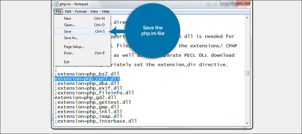 Save the php.ini file