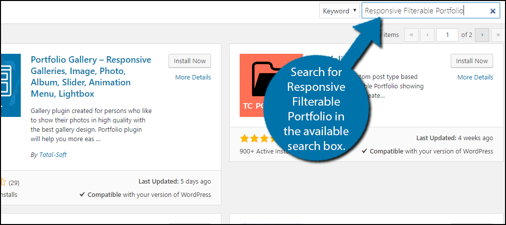 Search for Responsive Filterable Portfolio in the available search box.