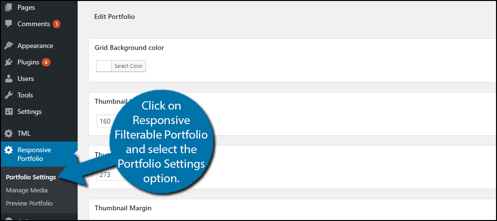 click on Responsive Filterable Portfolio and select the Portfolio Settings option.