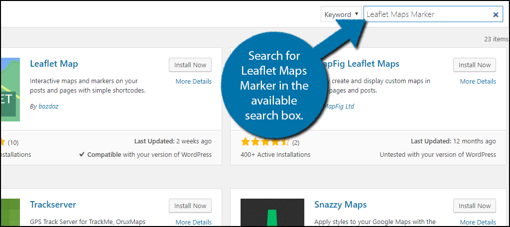 Search for Leaflet Maps Marker in the available search box.
