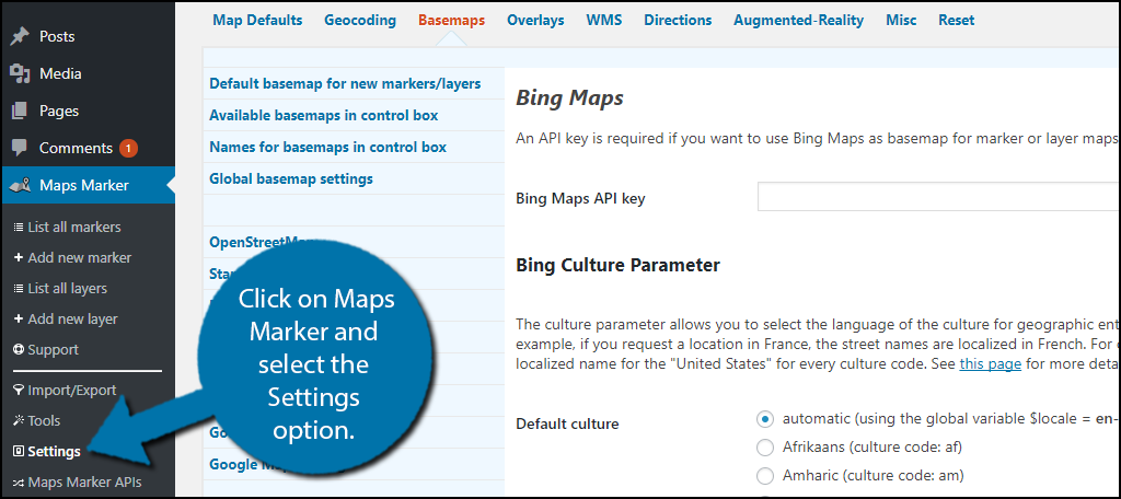 click on Maps Marker and select the Settings option.