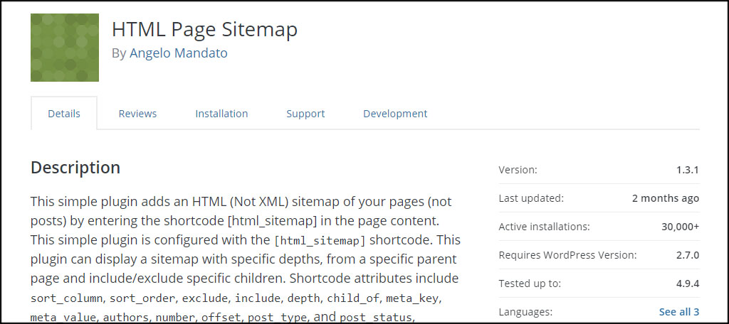 HTML Page Sitemap