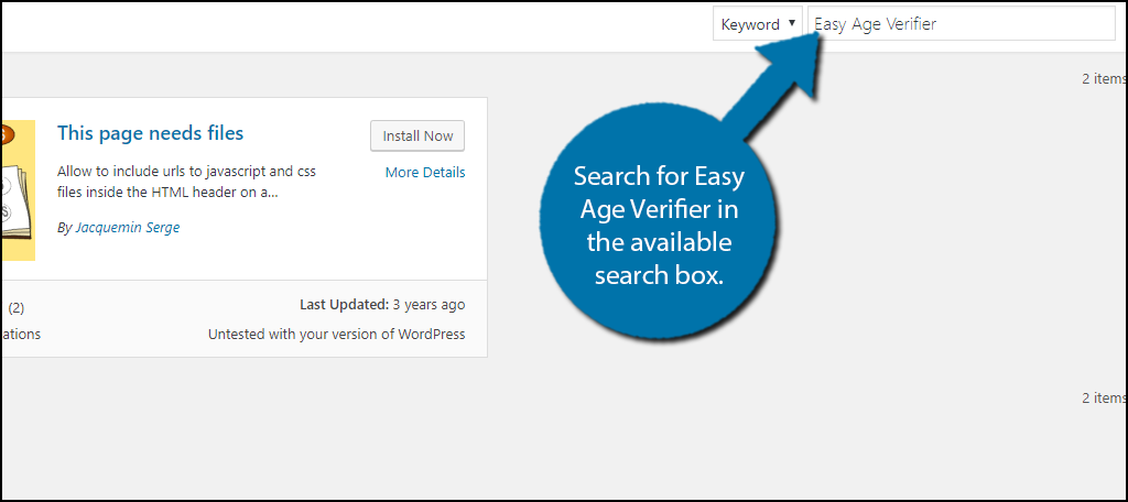 Search for Easy Age Verifier in the available search box.