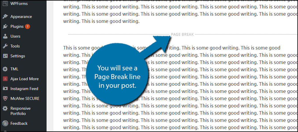You will see a Page Break line in your post.