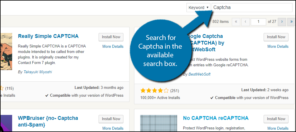 Search forCaptcha in the available search box.