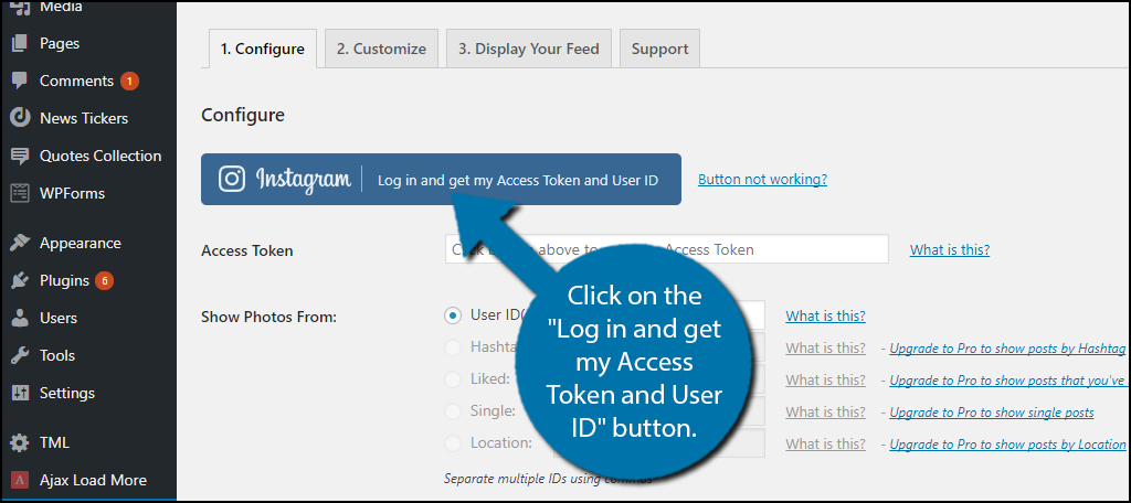 "Click on the ""Log in and get my Access Token and User ID"" button"