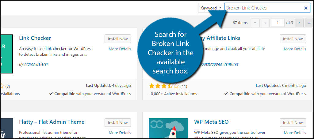 Search for Broken Link Checker in the available search box.