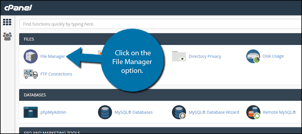 click on the File Manager option.
