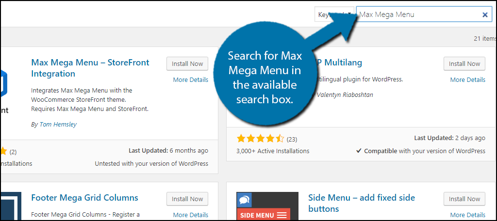 Search for Max Mega Menu in the available search box.