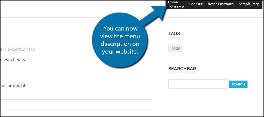 You can now view the menu description on your website.