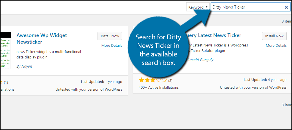 Search for Ditty News Ticker in the available search box.