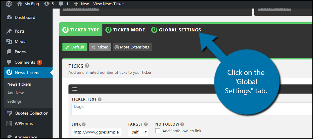 click on the Global Settings page.