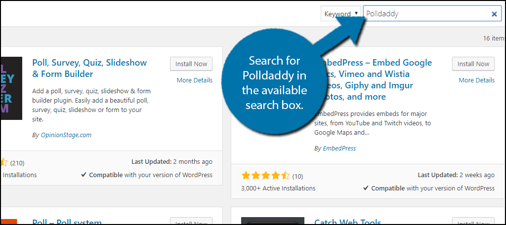 Search forPolldaddy in the available search box.