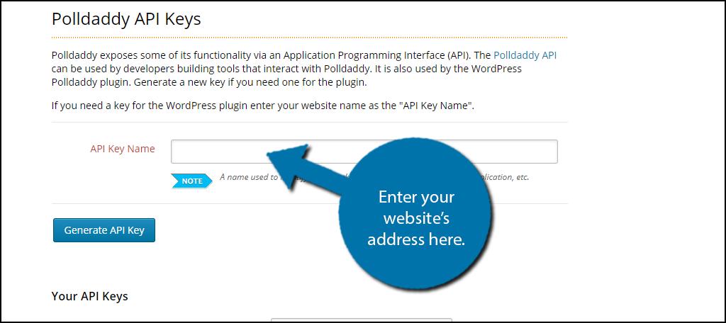 Enter your website's address