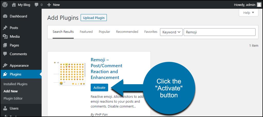 click to activate the WordPress Remoji plugin