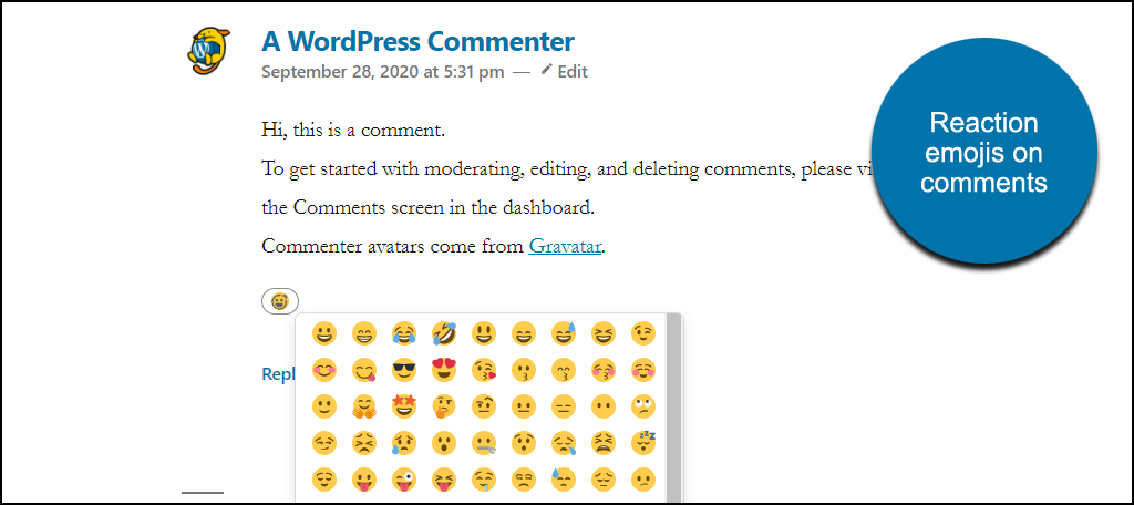 reactions on comment