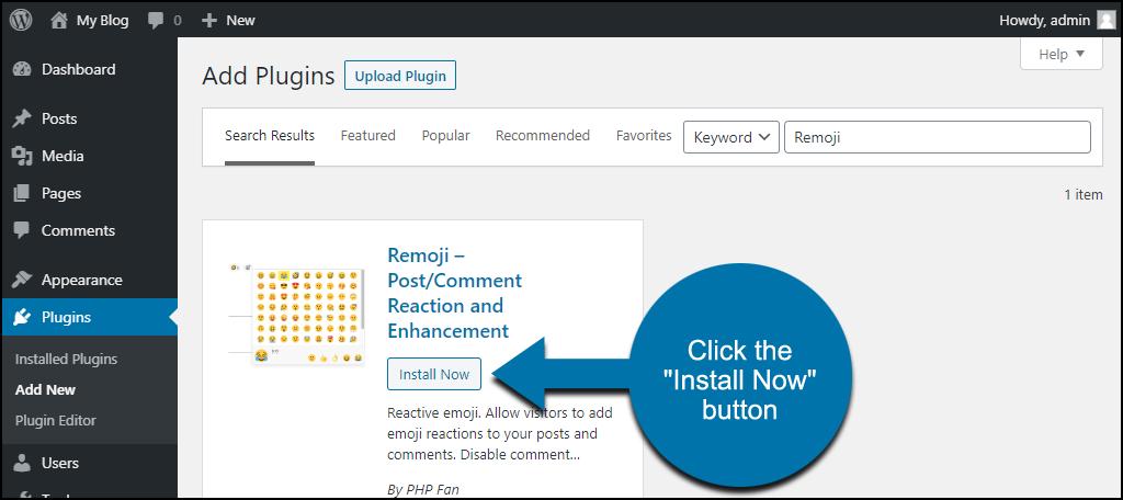 click to install the WordPress Remoji plugin