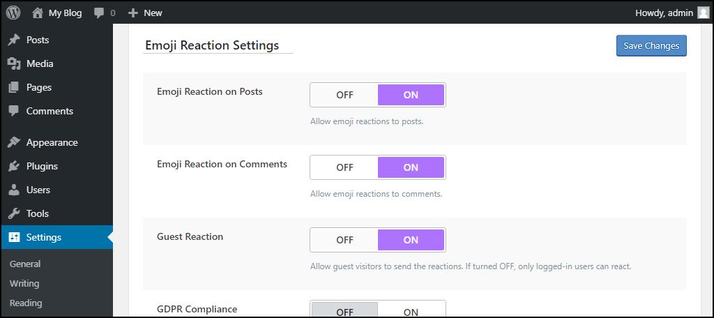 WordPress remoji plugin emoji reaction settings