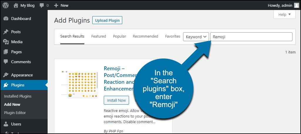 search for the WordPress Remoji plugin